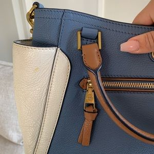 Tory Burch Bags - Tory Burch Frances Blue White Color Block Satchel